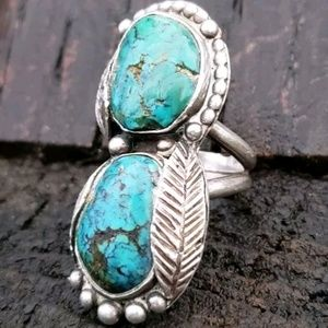 Old Pawn Native American Turquoise Sterling Ring 8